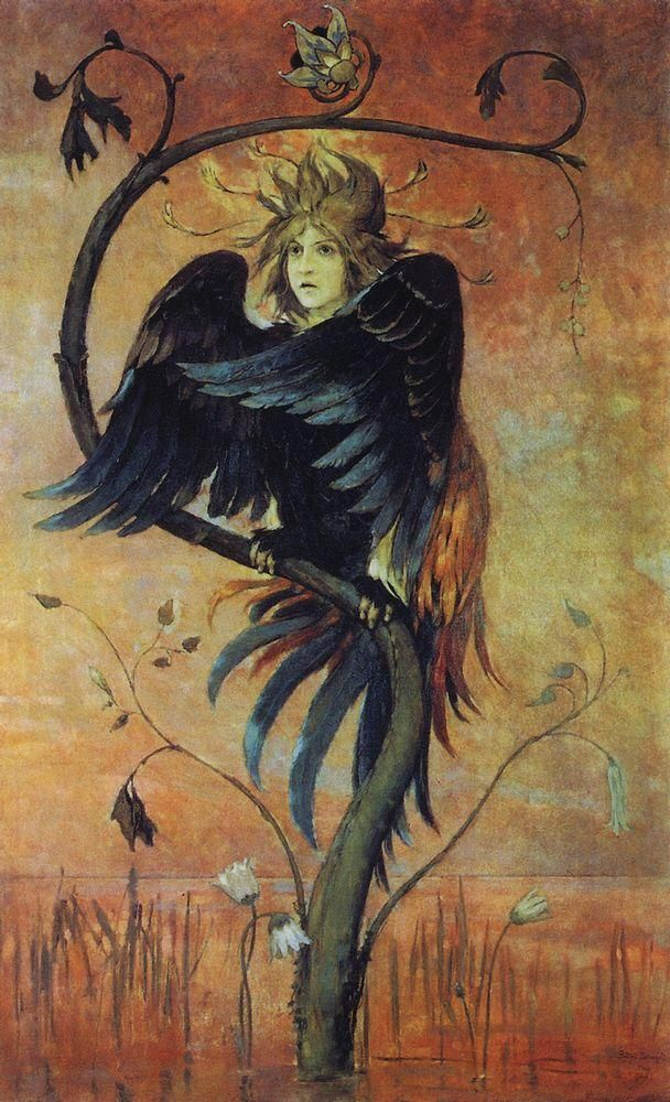 Gamayun, one of three prophetic birds of Russian folklore, alongside Alkonost and Sirin (painting by Viktor Vasnetsov, 1897). В.М.Васнецов «Гамаюн, птица вещая», 1897 г.
