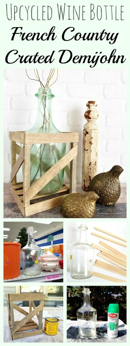 How to make a DIY tabletop crated demijohn from upcycled vintage wine bottle and DIY wooden crate from craft wood by Sadie Seasongoods / www.sadieseasongoods.com