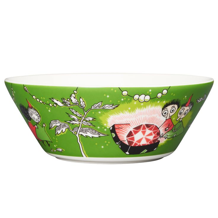 Moomin bowl, Thingumy and Bob, green