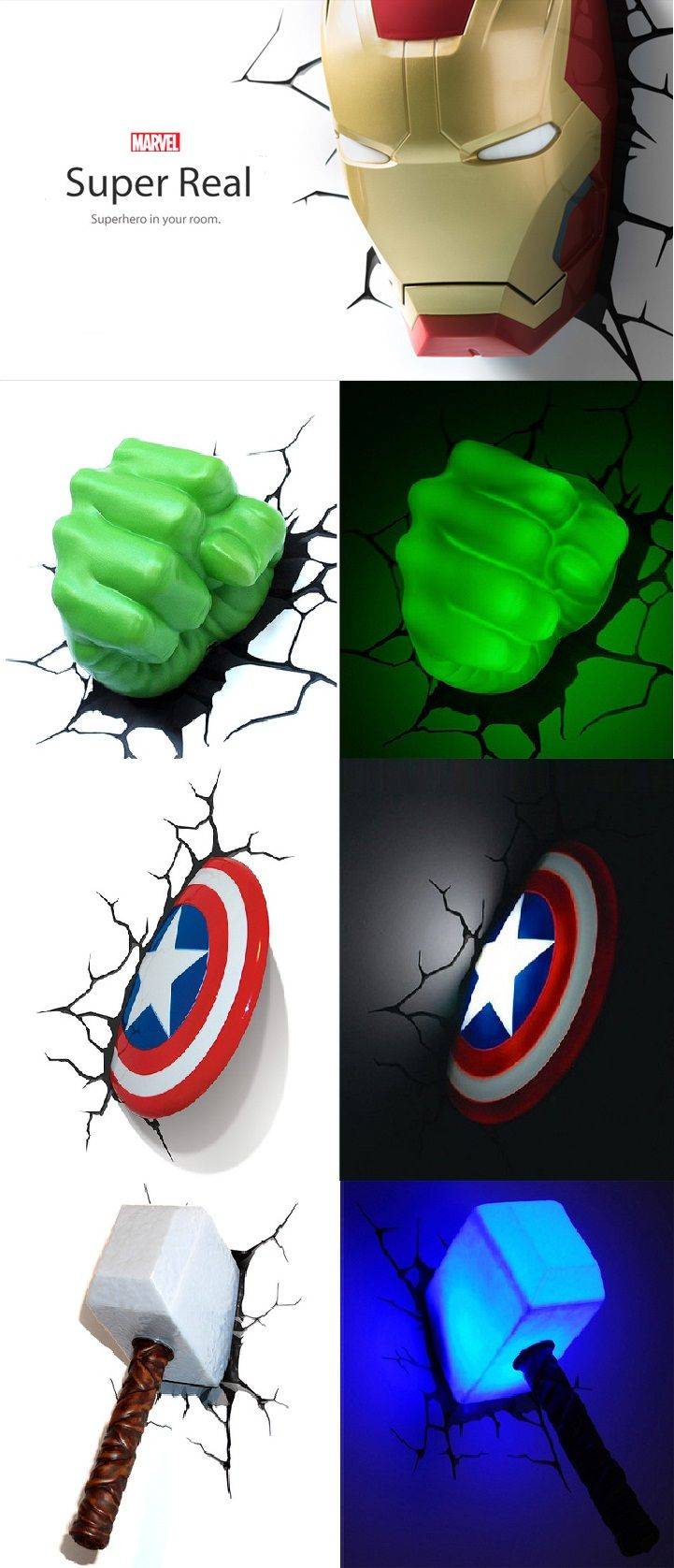 Awesome 3D Marvel Superhero Nightlights. So want to do this for my future child or movie room which ever comes first