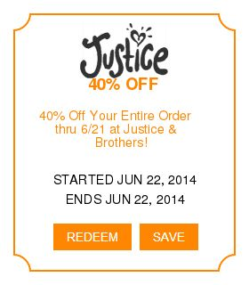 Justice outlet coupons