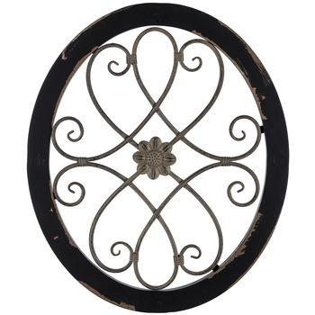 Oval Black Gray Wood Metal Wall Decor