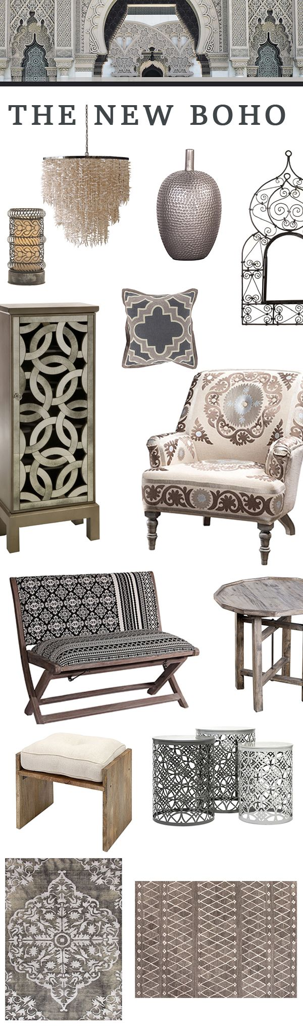 #Boho Luxe - Throw all of your previous notions of boho out the window. This elegant take on the aesthetic is changing everything. Inspired by Moroccan palaces and their Arabesque archways ----- ==