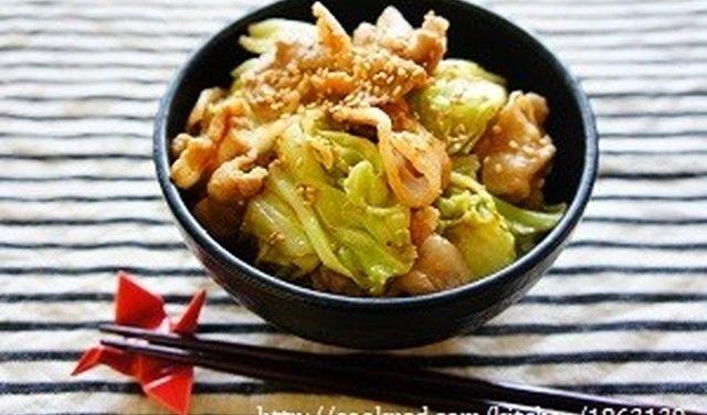 アレンジ丼☆豚肉とキャベツの胡麻味噌丼