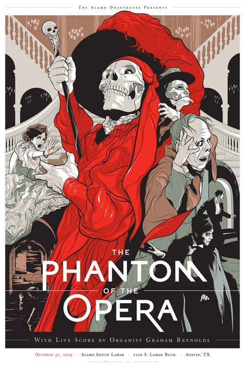 """Silk-screened poster design for The Alamo Drafthouse's special show of the 1925 classic silent film.  The color scheme refers to the early two-color form of Technicolor used in the Bal Masqué   sequence of the film, where the Phantom presents himself in the guise of the """"Red Death"""" - Martin Ansin"""