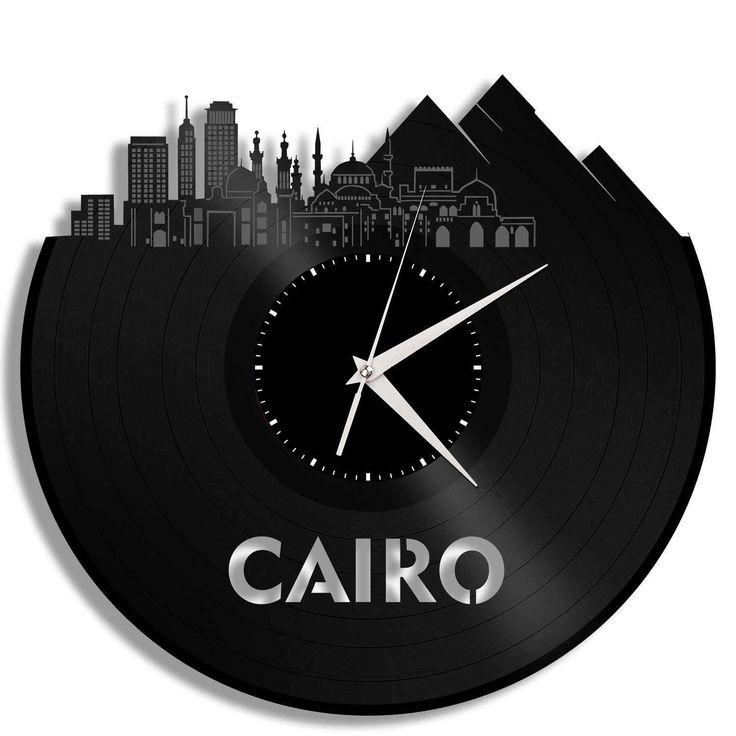 Cairo Skyline Clock, Egyptian Decor,  Egypt Art Clock, Vinyl Record Decor, Gift Ideas For Mom, Dad, Brother, Sister, Friend, Boyfriend by VinylShopUS on Etsy