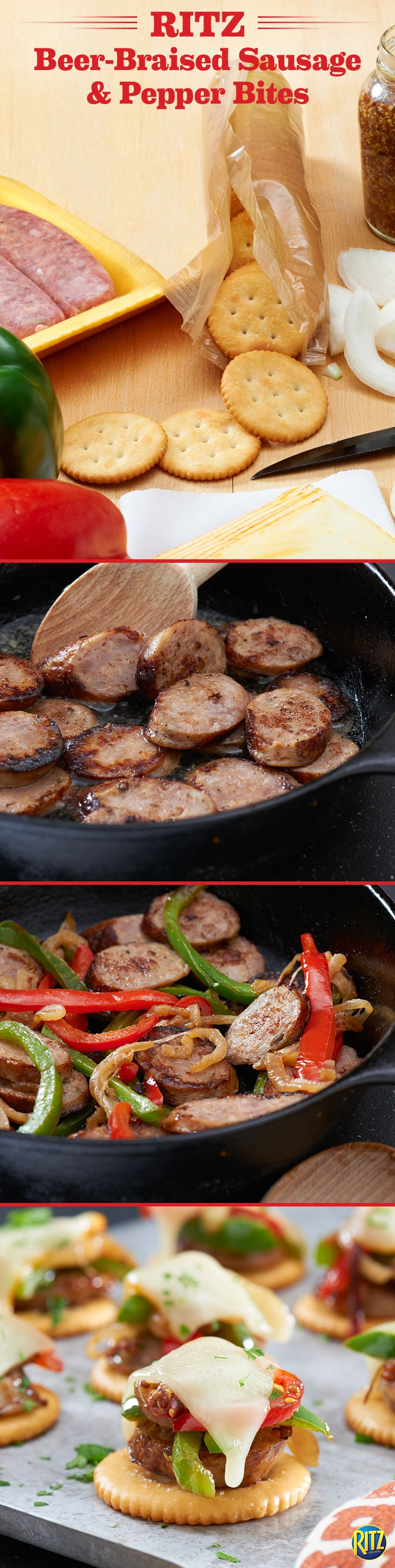 Our RITZ cracker Beer-Braised Sausage & Pepper Bites make a tasty appetizer for the holidays! Cook Italian sausage and light beer in a skillet until evenly browned. While this cools, cook sweet onions, red and green peppers, and beer in a skillet until tender, stirring in dijon mustard. Top RITZ crackers with a sausage slice, onion mixture, and Muenster cheese. Bake until cheese melts and sprinkle with parsley.