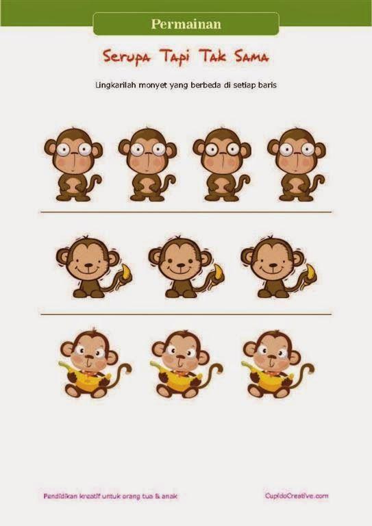 permainan gambar serupa tapi tak sama untuk melatih ketelitian anak SD/TK, gambar monyet