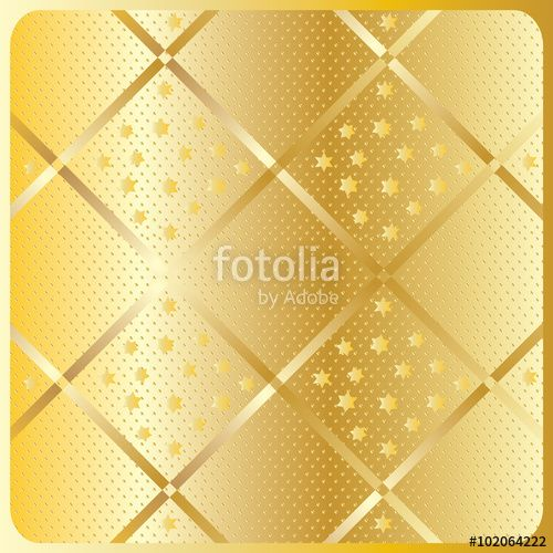 Vector: Golden textured geometric pattern. Gold diagonal rows and stars on gold background. Vector file. For art, print, web, fabric texture design, holiday greeting card, album and more.