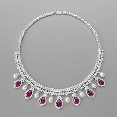RUBY, PEARL AND DIAMOND NECKLACE-
