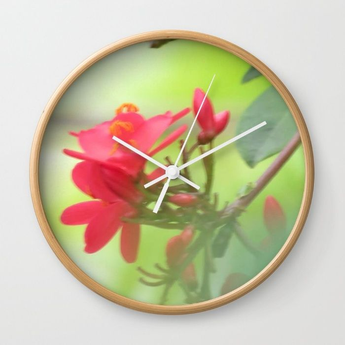 Tiny Red Flower Wall Clock