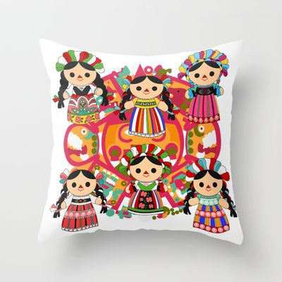 Mexican Dolls Throw Pillow by Alapapaju // now imagine this with fairies or Irish step dancers, Irish motifs ....