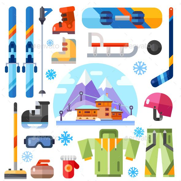 Winter Sports Equipment Set. by Tastyvector Winter sports equipment set: ski, skates, hockey, curling, mountain extreme sports, snowboarding, mountain ski suit, snowboard sui