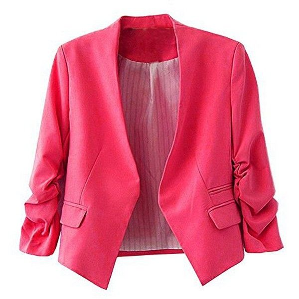 MuMuJia Women's Folding Sleeve Lightweight Office Blazer Candy Color (415 MXN) ❤ liked on Polyvore featuring outerwear, jackets and blazers