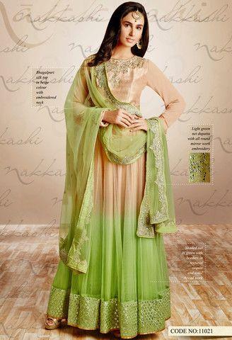 Beige Silk, Net Designer Salwar Kameez..@ fashionsbyindia.com #designs #indian #fashion #womens #style #cloths #fashion #stylish #casual #fashionsbyindia #punjabi #suits #salwar #kameez