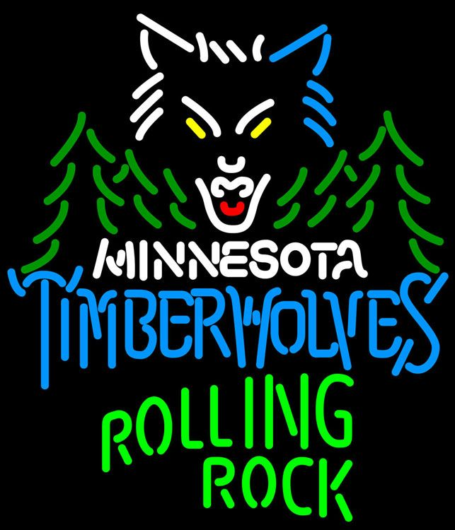 Rolling Rock Minnesota Timber Wolves NBA Neon Beer Sign, Rolling Rock with NBA Neon Signs | Beer with Sports Signs. Makes a great gift. High impact, eye catching, real glass tube neon sign. In stock. Ships in 5 days or less. Brand New Indoor Neon Sign. Neon Tube thickness is 9MM. All Neon Signs have 1 year warranty and 0% breakage guarantee.