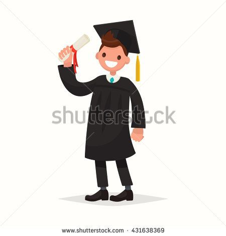 Happy guy university graduate in black gown. Vector illustration of a flat design