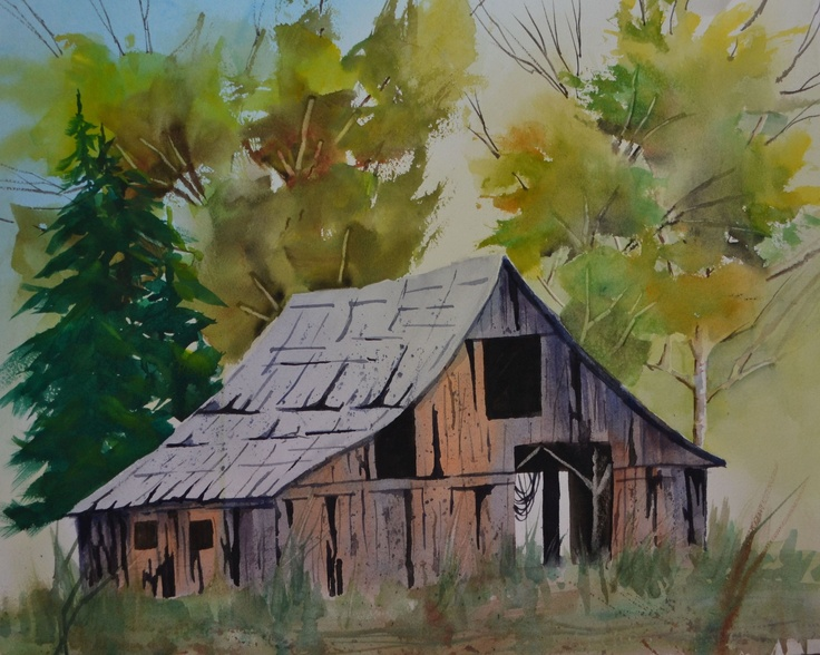 351 best images about barns and old buildings to paint on for Watercolor barn paintings