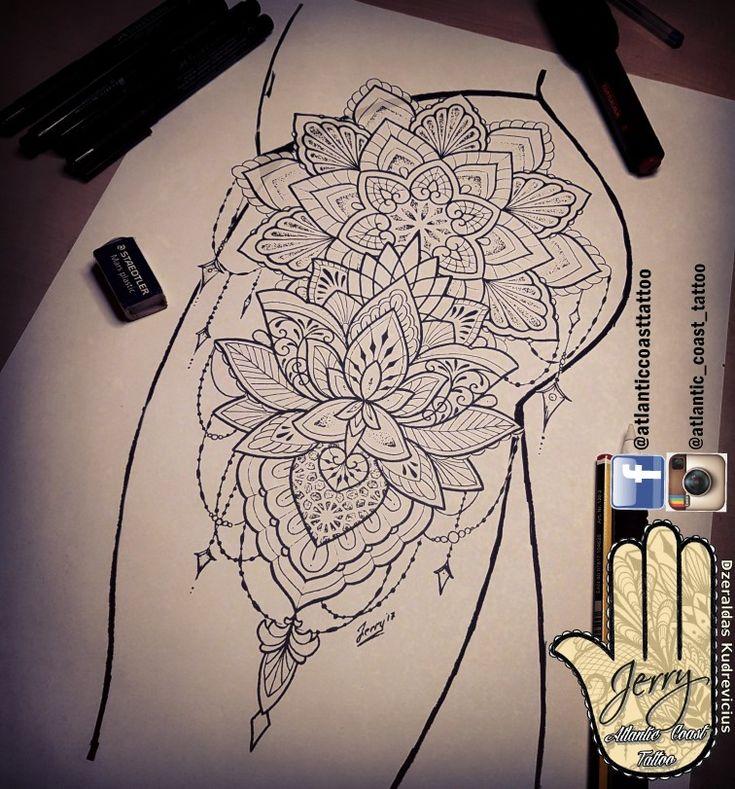 Schöner Tätowierungsideenentwurf für einen Schenkel. Mandala Lotus Spitze Tattoo-Design mit hübschen Mustern von Dzeraldas Jerry Kudrevicius von Atlantikküste tat …