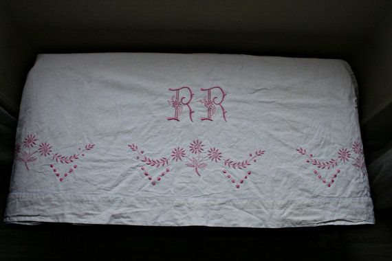 French Vintage Pink Embroidered RR Sheet by FromParisToProvence, €65.00