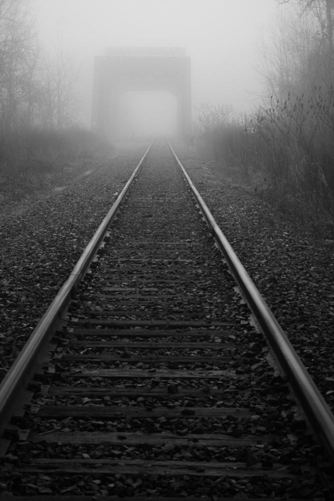 Train Tracks with Misty Bridge Background by ʎpɐן uɐıpɐuɐɔ