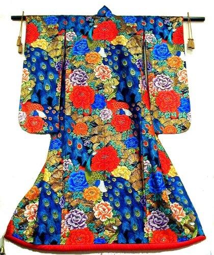 Japanese Wedding Kimono - Peony - Peacok