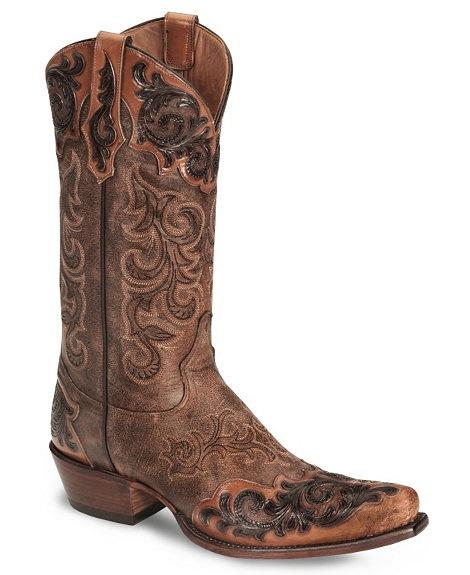 Tony Lama Signature Series Bourbon Bomber Wingtip Cowboy Boot - Snip Toe