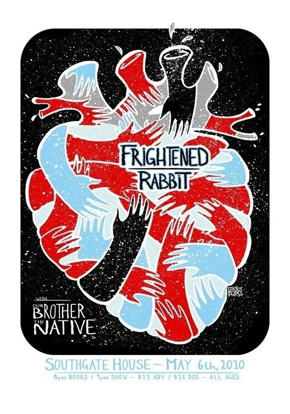 frightened rabbit screenprinted gig poster by cricket press