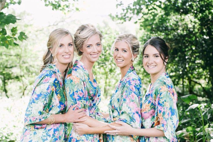 Beautiful floral satin bridal robes https://www.facebook.com/lovetesi photography by Fiona Clair