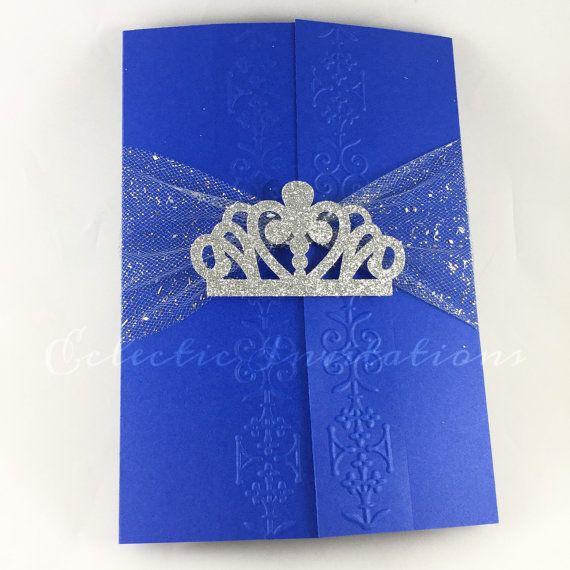 50 invitaciones de princesa azul  quinceañeras Sweet 16