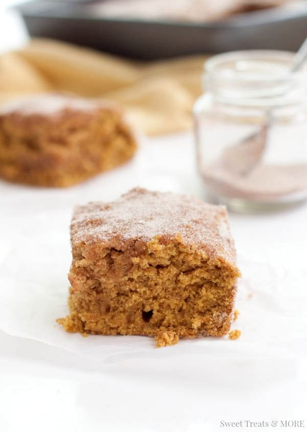 Cinnamon-Sugar Pumpkin Snack Cake    Sweet Treats and MORE.  The perfect pumpkin snack cake for fall coated with a sweet, cinnamon-sugar topping! #recipe #pumpkin