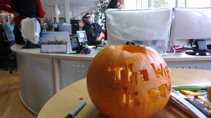 This years Jack O Lantern was really scary - It reads.... The WiFi is Down!!