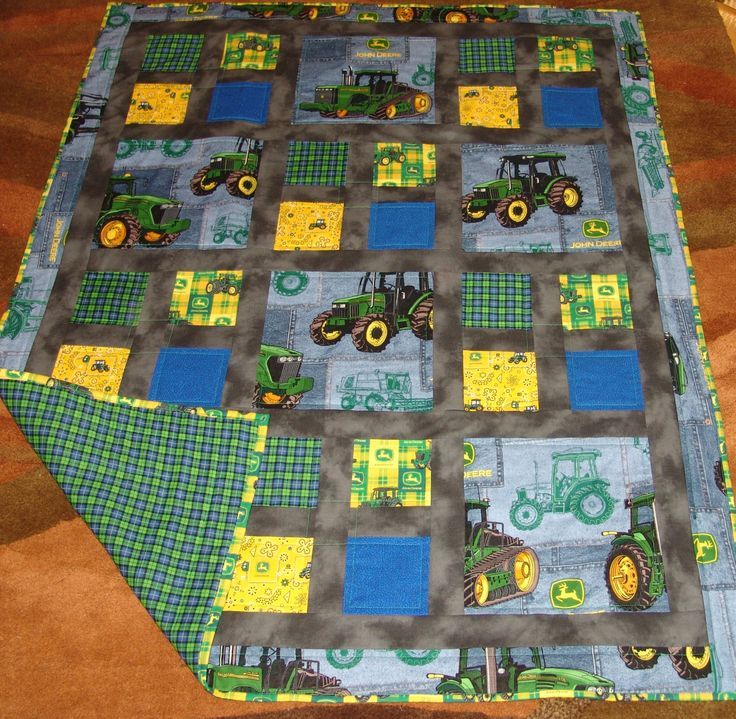 Lap Baby Quilt With John Deere Themed Fabric 3 Prints