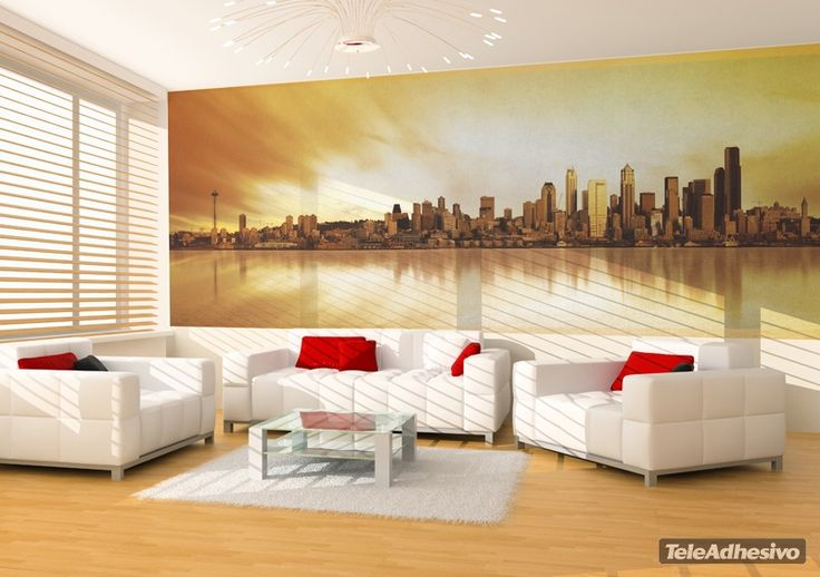 Fotomurales chicago skyline fotomurales sitios famosos for Chicago skyline mural wallpaper