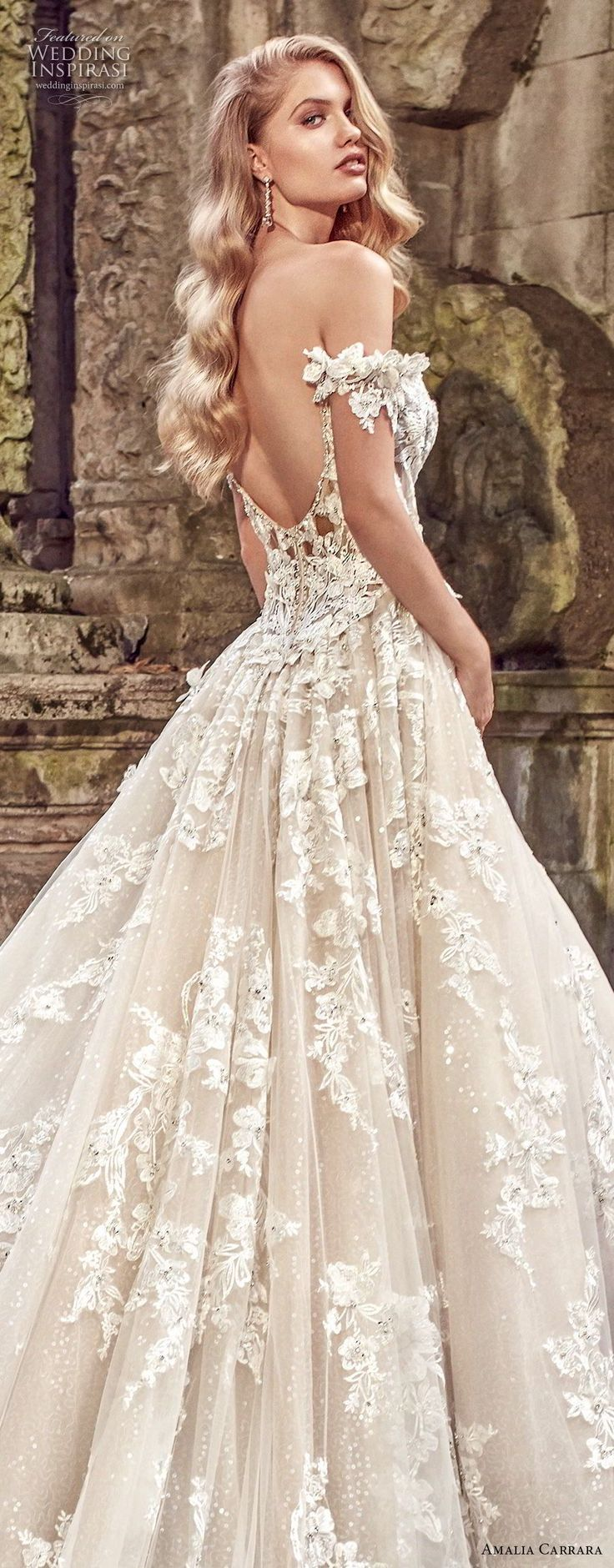 amalia carrara spring 2018 bridal off the shoulder sweetheart neckline heavily embellished bodice romantic princess a line wedding dress open back royal train (1) zbv -- Amalia Carrara Spring 2018 Wedding Dresses