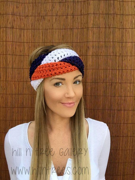 Bandeau Denver bleu marine, orange blanc || Tresse Tête Bande Accessoire Cheveux Earwarmer Football Colorado Mode Vegan Femme Unisexe Hommes