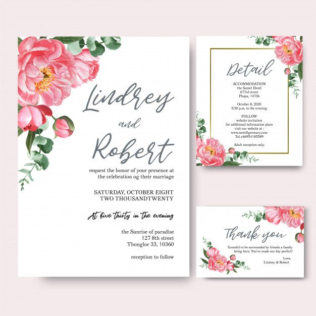 Download Pink Peony Flowers Watercolor Bouquets Invitation Card