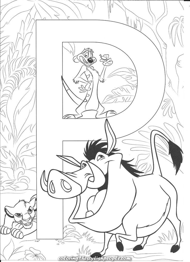 Charismatic P for Pumbaa | Disney coloring pages, Disney ...