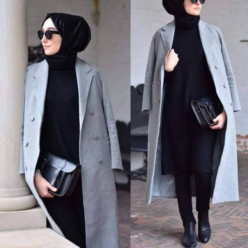gray coat elegant hijab, Hijab chic from the street http://www.justtrendygirls.com/hijab-chic-from-the-street/