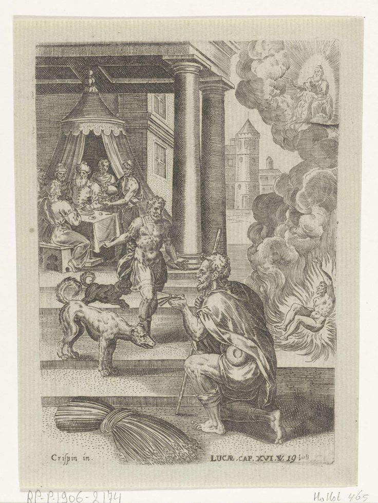 Abraham de Bruyn   Parabel van Lazarus en de rijke man, Abraham de Bruyn, Christoffel Plantijn, 1583   Boekillustratie bij de parabel van Lazarus en de rijke man (Lucas 16:19-31). De bedelaar Lazarus knielt voor het huis van een rijke man. Hij smeekt om wat eten. De rijke man stuurt slechts zijn twee honden naar hem toe om de man zijn zweren te likken. Als beiden sterven komt Lazarus in de hemel terecht, terwijl de rijke man in de hel moet branden. Hoewel de rijke man smeekt om hulp, wordt…