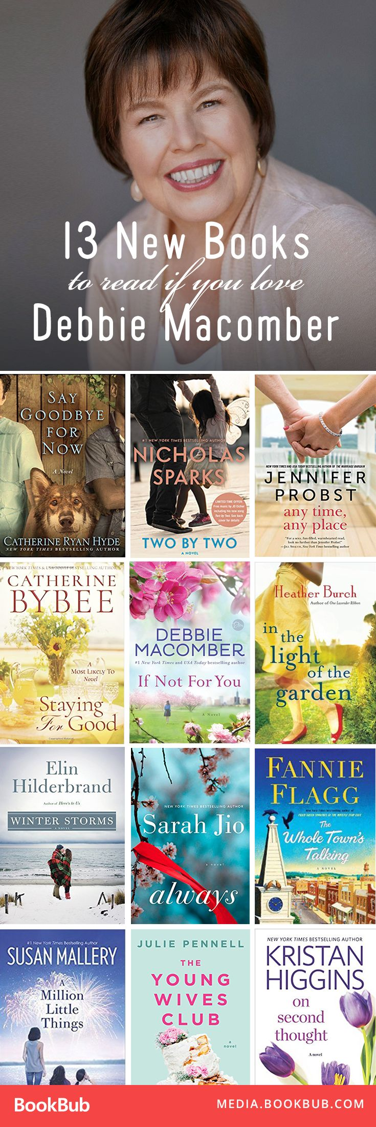 13 books to read if you love Debbie Macomber, including great romance books for women.