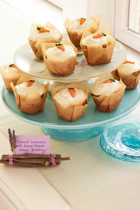 Carrot Cupcakes with Honey Cream Cheese: These cute cupcakes are the perfect ending to a springtime dinner. Click through to discover more sweet and easy cupcake recipes to make from scratch.