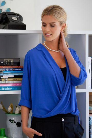 The Cross Over Blouse - bird keepers - Colbolt Blue Cross Over Shirt - Smart Casual Style - Birdsnest Online