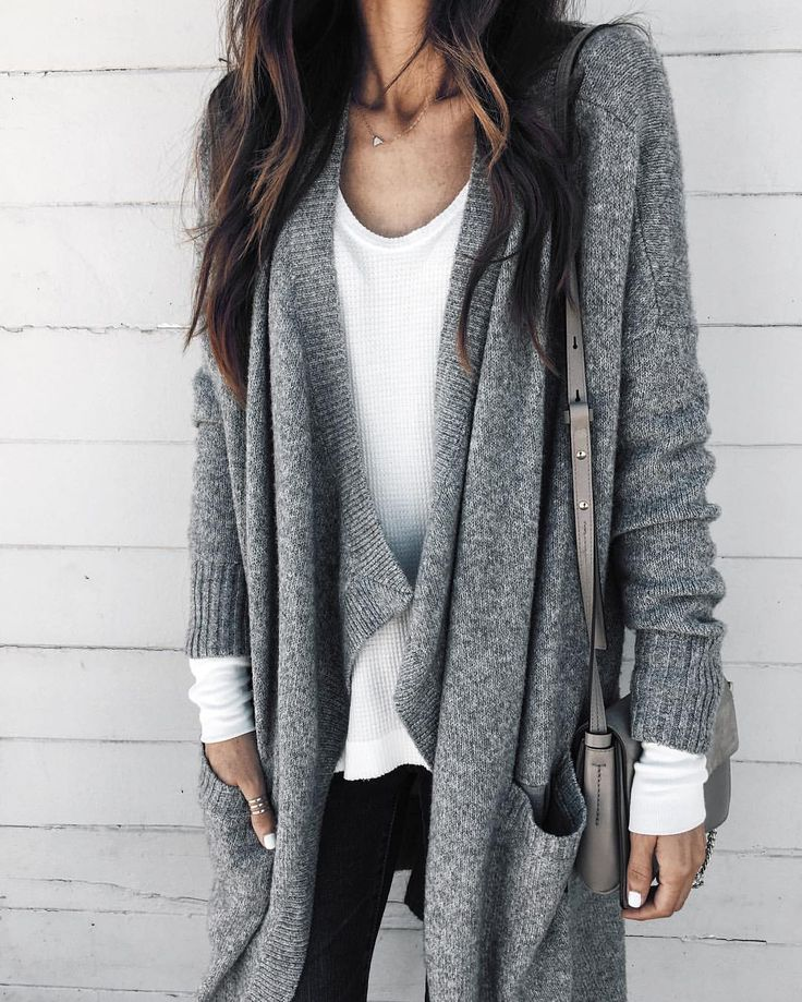 Layered White & Gray Sweater