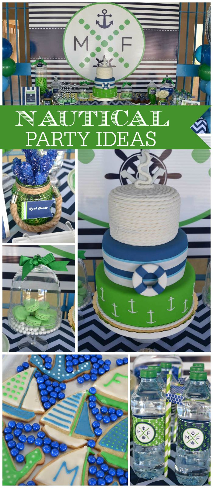 Love this preppy nautical party in navy blue and emerald green! See more party ideas at CatchMyParty.com!