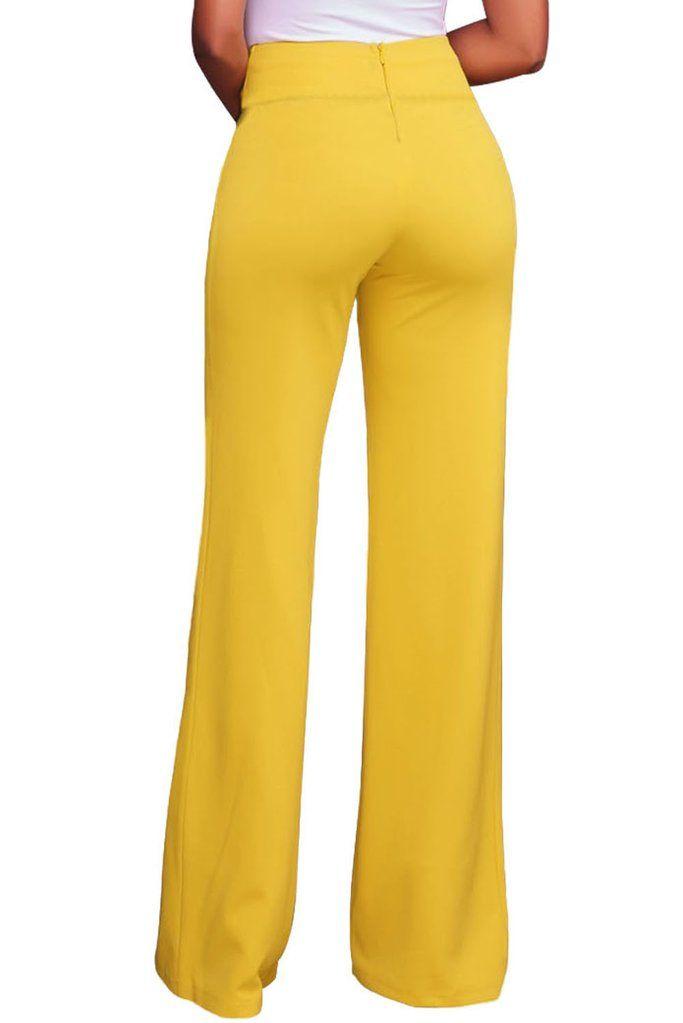 d49214b933b0 Womens Yellow Gold Zipper Detail High Waist Palazzo Pants in 2019 | Parties  dresses | Pants, Fashion pants, Pallazo pants