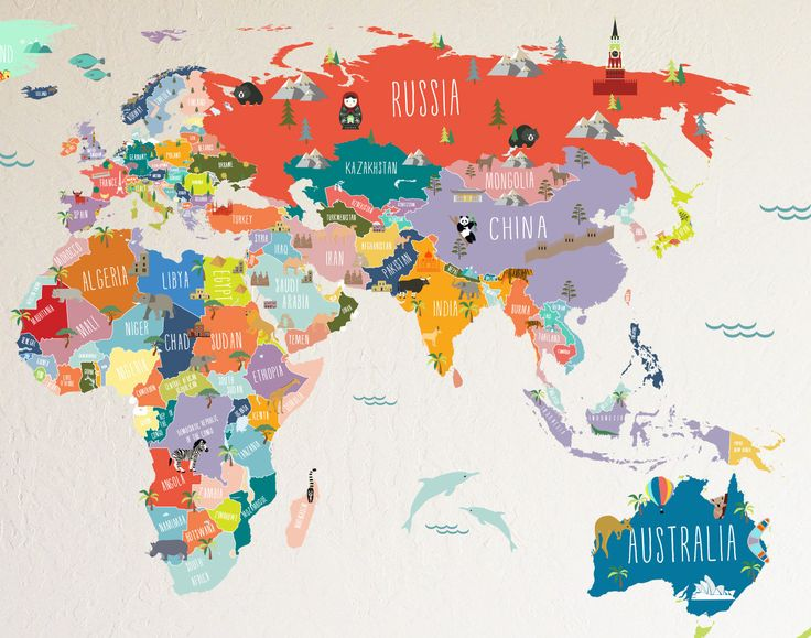 Wall Decal - World Map interactive map - Wall Sticker Room ...