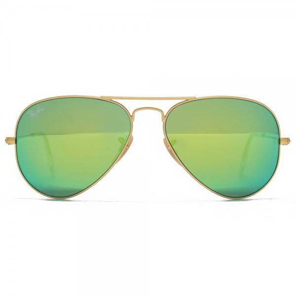 Ray-Ban Green Classic Aviator Sunglasses ($170) ❤ liked on Polyvore featuring accessories, eyewear, sunglasses, ray ban glasses, ray ban sunnies, green aviator sunglasses, ray ban eyewear and green glasses