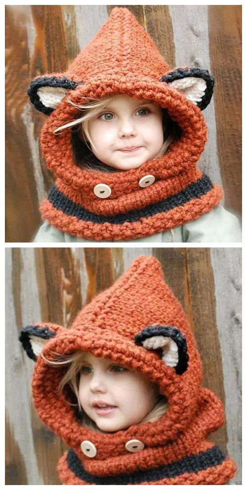 Fox Ear Shape and Buttons Embellished Knitted Hooded Scarf .Give your girl a best gift.