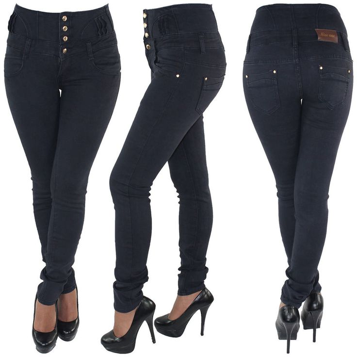 Damen Jeans Stretchjeans Röhrenjeans Hochschnitt Corsagenjeans Hose 56-2